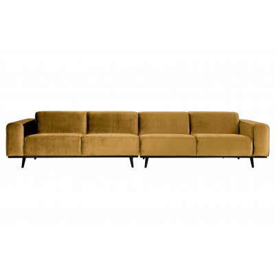 Keturvietė sofa Statement XL, 372 cm, velvetas (medaus geltona)