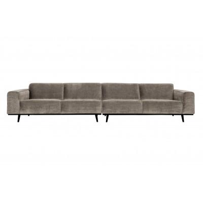 Keturvietė sofa Statement XL, 372 cm, plokščiasis velvetas (rusvai pilkšva)