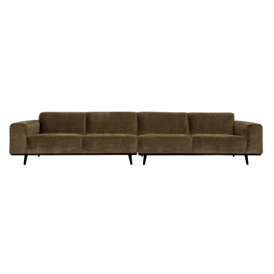 Keturvietė sofa Statement XL, 372 cm, plokščiasis velvetas (žalsvai rusva)