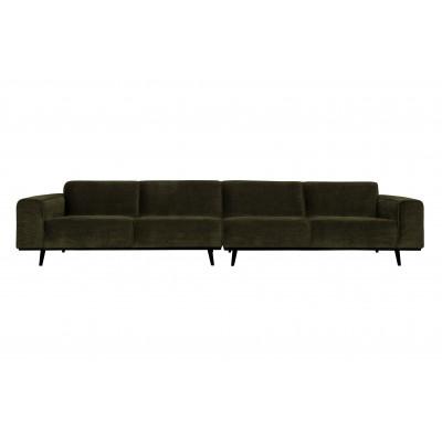 Keturvietė sofa Statement XL, 372 cm, plokščiasis velvetas (šiltai žalia)