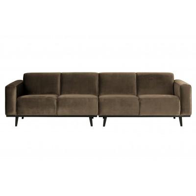 Keturvietė sofa Statement, 280 cm, velvetas (šilta rusvai pilka)