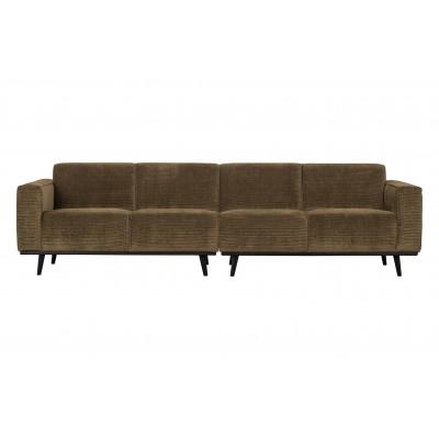Keturvietė sofa Statement, 280 cm, plokščiasis velvetas (žalsvai rusva)