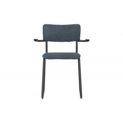 Valgomojo kėdė Ribb su porankiu, kordinis velvetas (plieno mėlyna), 4 vnt.