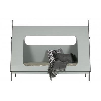 Lova Tipi, su grotelėmis, 90x200 cm (betono pilka)