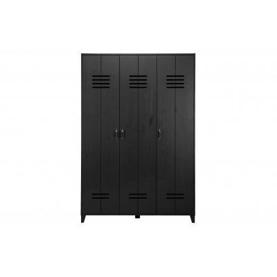 Drabužių spinta Locker, 3 durų, pušis (juoda)