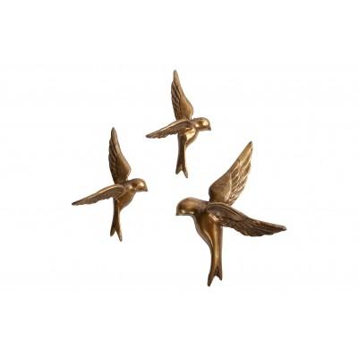 3 metaliniai paukščiukai Avaler Too (sendinto žalvario)