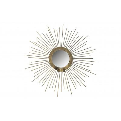 Metalinis veidrodis Sunny su žvakide, 45 cm skersm. (sendinto žalvario spalvos)