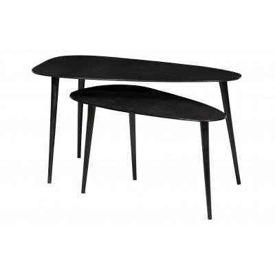 Trikampis kavos staliukas, metalas (juodo nikelio) (2 dalių komplektas)