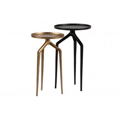 Šoninis staliukas Mosquito, metalas (juodo nikelio / sendinto žalvario) (2 dalių komplektas)