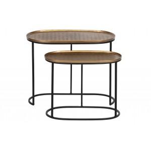 2 dalių šoninis staliukas Embrace,  metalas (sendinto žalvario)