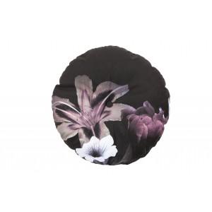Apvali pagalvėlė Flower, 45 cm skersm. , velvetas (juoda)