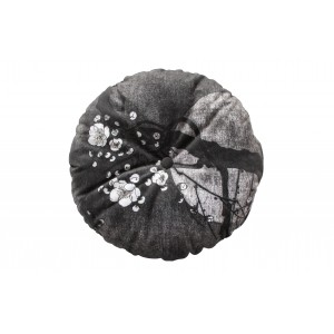 Apvali pagalvėlė Night Blossom, 45 cm skersm., velvetas (juoda)
