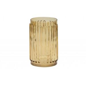 Geltono stiklo vaza Ridges