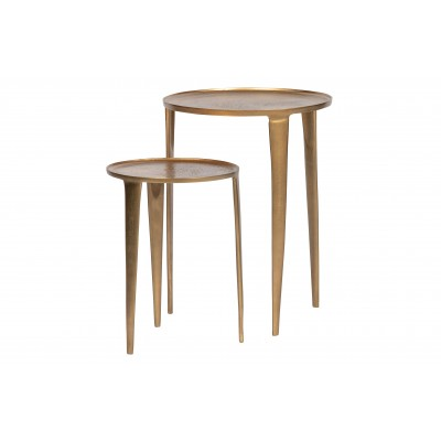 2 dalių šoninis staliukas Medaillon,  metalas (sendinto žalvario)