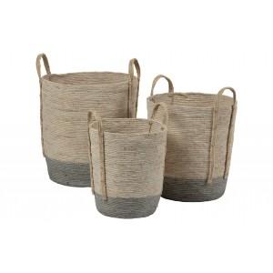 3 kukurūzų šiaudų krepšiai Indian (natūrali / pilka)