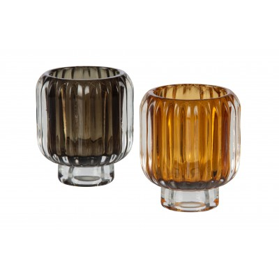 Žvakidė Wave, stiklas, 8x7 cm skersm., 2 vnt.