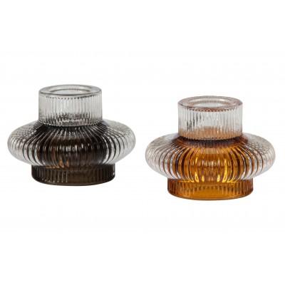 Žvakidė Wave, stiklas, 6x8 cm skersm., 2 vnt.