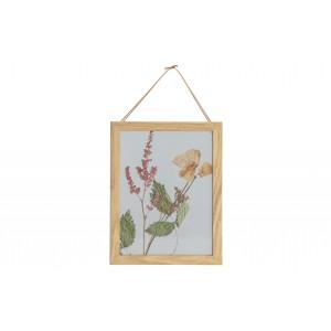 Medinis nuotraukos rėmelis Potpourri, 23x18 cm (natūrali su gėlių paveikslėliu), 2 vnt.