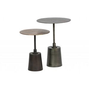 2 dalių šoninis staliukas Crush,  metalas (sendinto žalvario / sidabro)