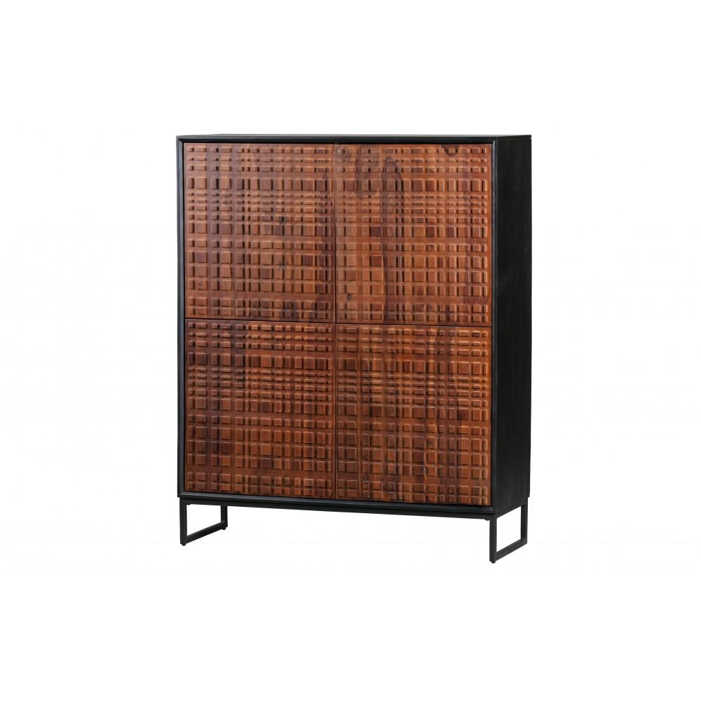 4 durų spinta Nuts, palisandro medis (riešutmedžio spalva / juoda)