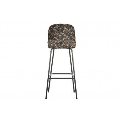 Baro kėdė Vogue, 80 cm, velvetas (juoda su gėlių raštu)