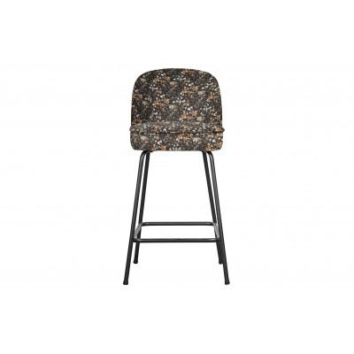 Baro kėdė Vogue, 65cm, velvetas (juoda su gėlių raštu)