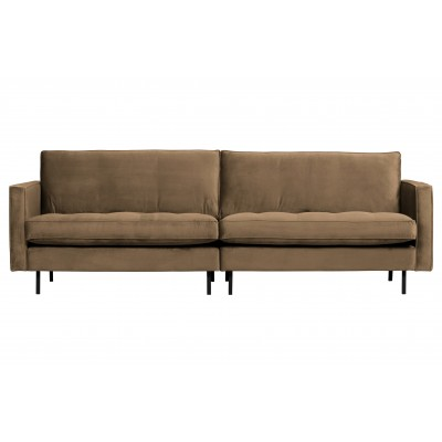 Klasikinė trivietė sofa Rodeo, velvetas (šilta rusvai pilka)