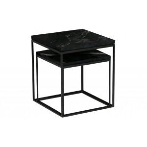2 šoniniai staliukai Mellow, marmuras (juoda)