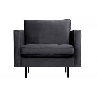 Klasikinis fotelis Rodeo, velvetas (tamsiai pilka)