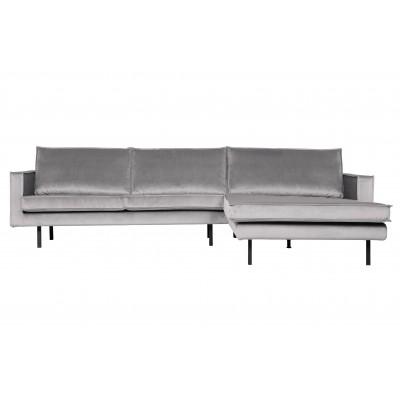 Kampinė sofa Rodeo, dešininė, velvetas (šviesiai pilka)