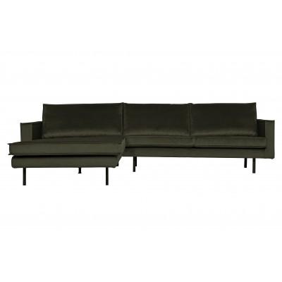 Kampinė sofa Rodeo, kairinė, velvetas (tamsiai žalia)