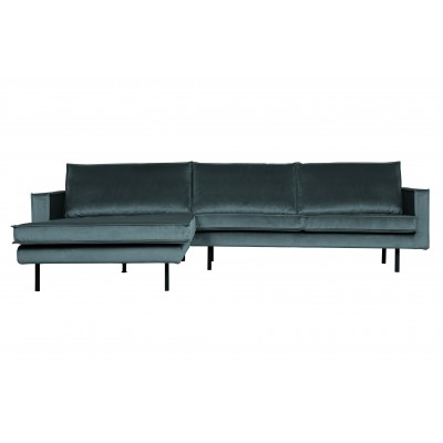Kampinė sofa Rodeo, kairinė, velvetas (žalsvai mėlyna)