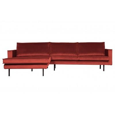 Kampinė sofa Rodeo, kairinė, velvetas (kaštoninė)