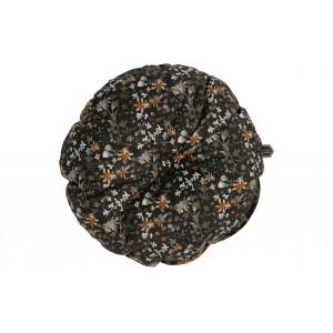 Apvali pagalvėlė Vogue, 45 cm skersm., velvetas (juoda su gėlių raštu)