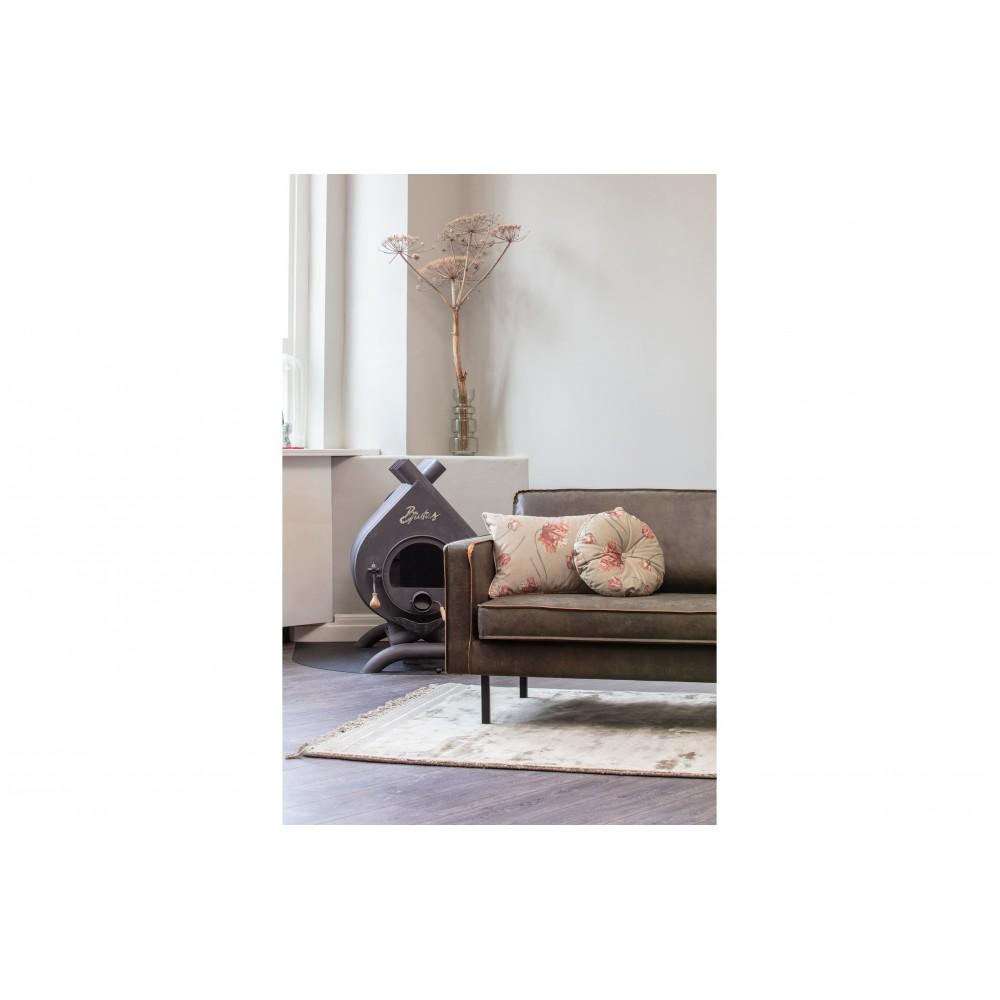 Apvali pagalvėlė Vogue, 45 cm skersm., velvetas, (žalsva su agavės žiedų raštu)