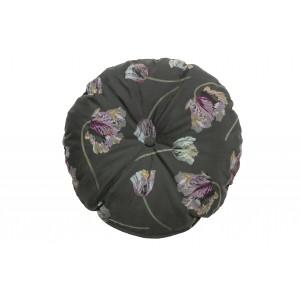 Apvali pagalvėlė Vogue, 45 cm skersm., velvetas, (žalsva su alavijų raštu)
