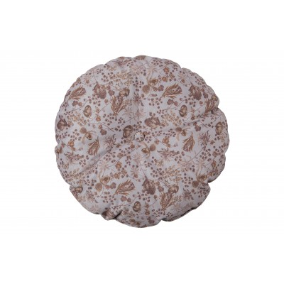 Apvali pagalvėlė Vogue, 45 cm skersm., velvetas (pilkšvai ruda su gėlių raštu)