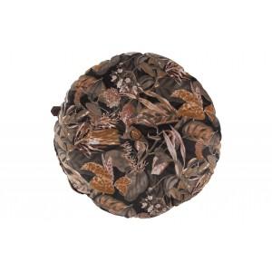 Apvali pagalvėlė Vogue, 45 cm skersm., velvetas (juoda su įvairių gėlių raštu)