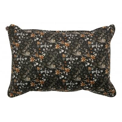 Pagalvėlė Vogue, 40x60 cm, velvetas (juoda su gėlių raštu)