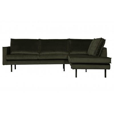 Kampinė sofa Rodeo, dešininė, velvetas (tamsiai žalia)