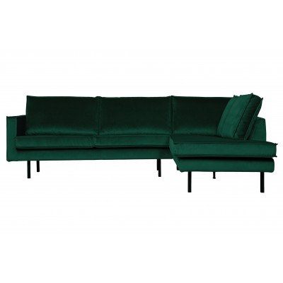 Kampinė sofa Rodeo, dešininė, velvetas (miško žalia)