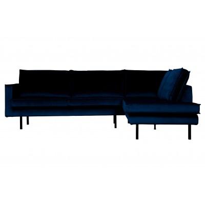 Kampinė sofa Rodeo, dešininė, velvetas (tamsiai mėlyna)
