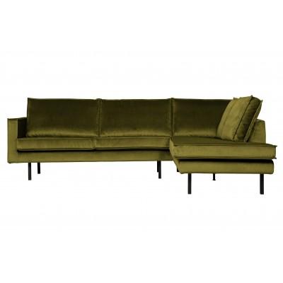 Kampinė sofa Rodeo, dešininė, velvetas (alyvuogių žalia)