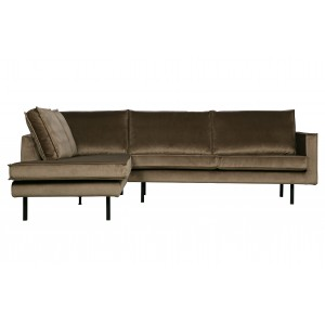 Kampinė sofa Rodeo, kairinė, velvetas (miško žalia)