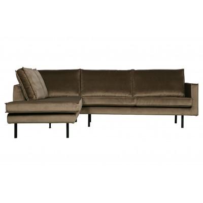 Kampinė sofa Rodeo, kairinė, velvetas (šilta rusvai pilka)