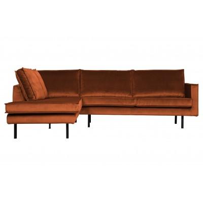 Kampinė sofa Rodeo, kairinė, velvetas (rūdžių)