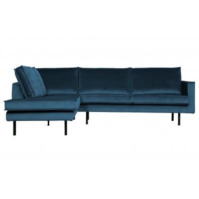 Kampinė sofa Rodeo, kairinė, velvetas (mėlyna)
