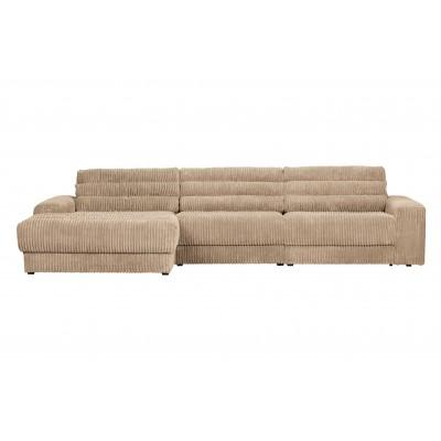 Kampinė sofa Date, kairinė, kordinis velvetas (kreminė)