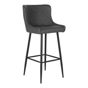 Baro kėdė Dallas, poliuretanas (tamsiai pilka / juodos kojos)