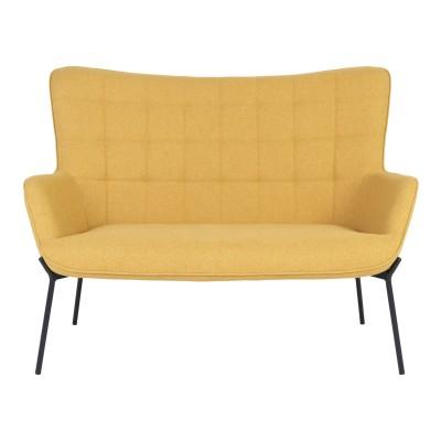 Dvivietė sofa Glasgow (garstyčių spalva / juodos kojos)